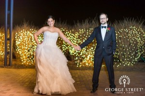 Bride and groom celebrate their wedding in