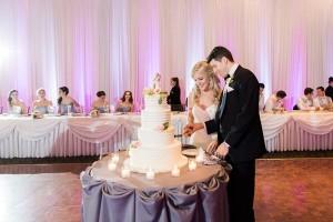 Couple cuts wedding cake while bridal shower celebrates